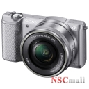 Camera foto Sony Mirrorless Sony ILCE5000LS, 20MP, Silver + Obiectiv 16-50mm